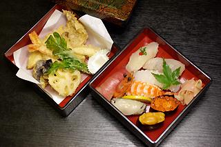 松にぎりと天ぷら盛り合せ